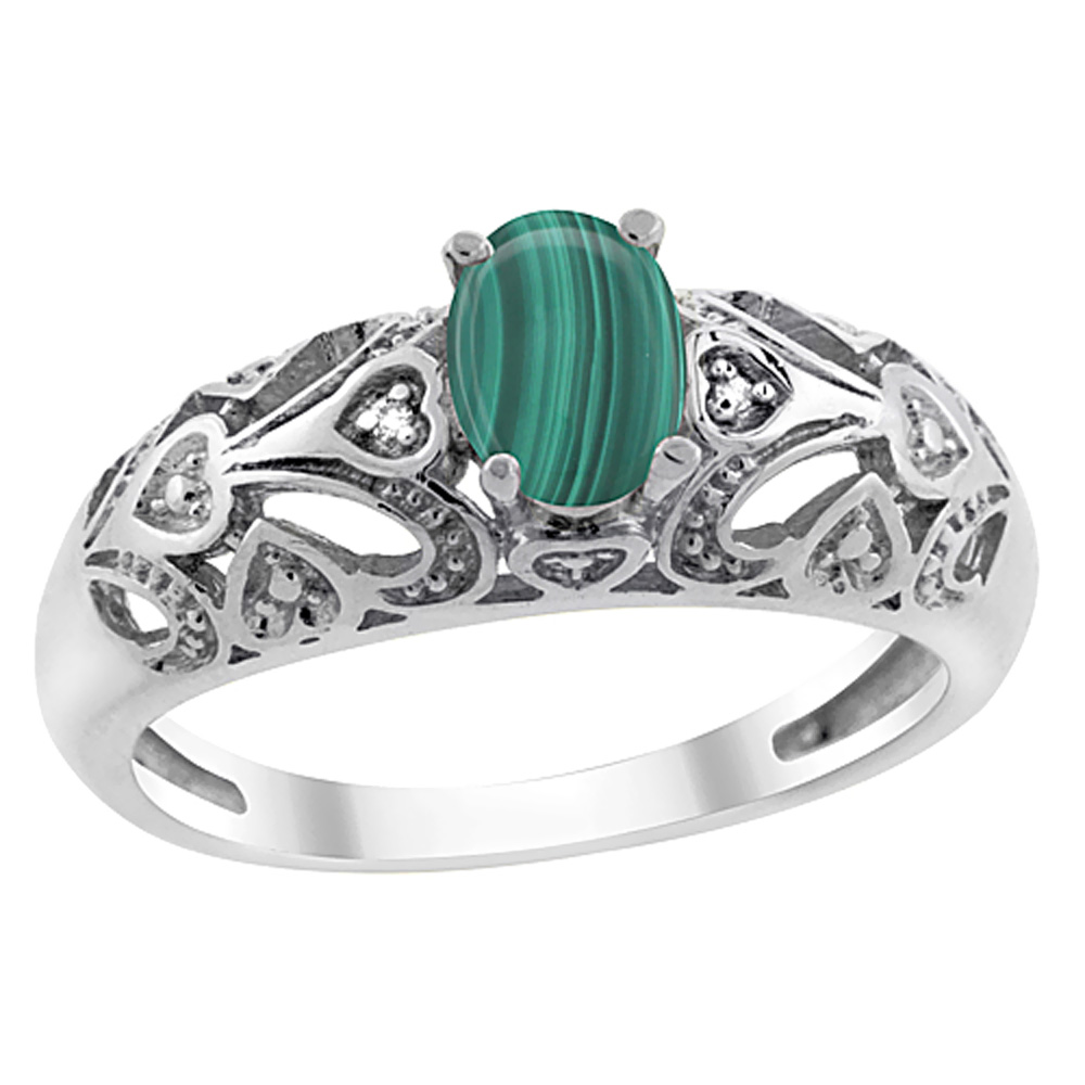 14K Yellow Gold Natural Malachite Ring Oval 6x4 mm Diamond Accent, sizes 5 - 10