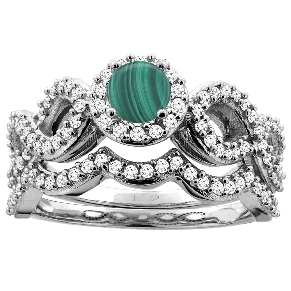 14K White Gold Natural Malachite Engagement Halo Ring Round 5mm Diamond 2-piece Accents, sizes 5 - 10