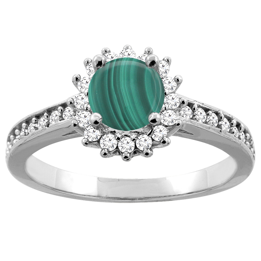 14K Gold Natural Malachite Floral Halo Diamond Engagement Ring Round 6mm, sizes 5 - 10