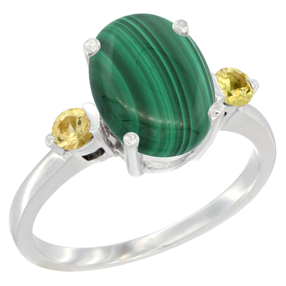 14K White Gold Natural Malachite Ring Oval 10x8mm Yellow Sapphire Accent, sizes 5 - 10