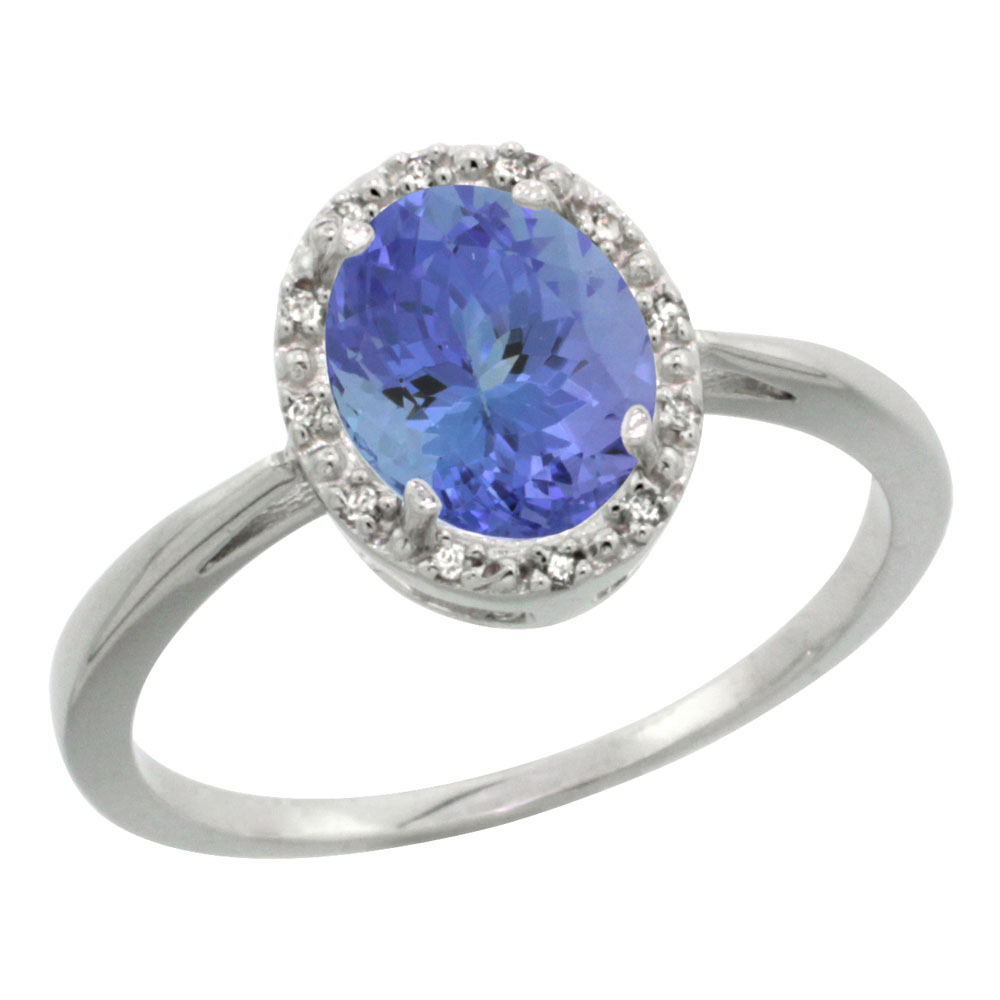 14K White Gold Natural Tanzanite Diamond Halo Ring Oval 8X6mm, sizes 5 10