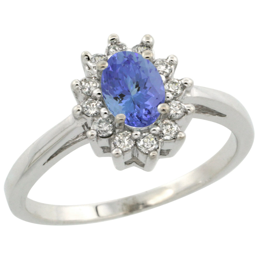 14K White Gold Natural Tanzanite Flower Diamond Halo Ring Oval 6x4 mm, sizes 5 10