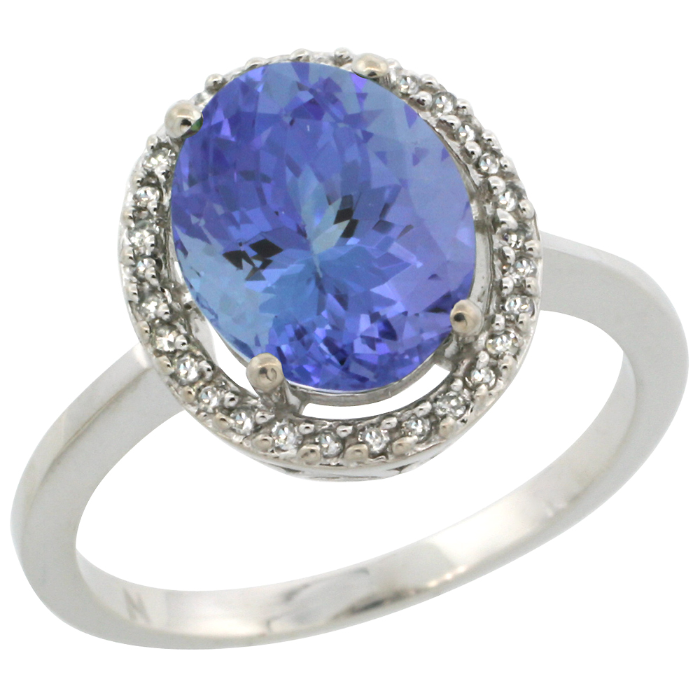 10K White Gold Diamond Halo Natural Tanzanite Engagement Ring Oval 10x8 mm, sizes 5 10