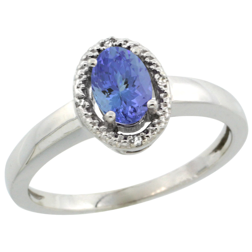 14K White Gold Diamond Halo Natural Tanzanite Engagement Ring Oval 6X4 mm, sizes 5-10