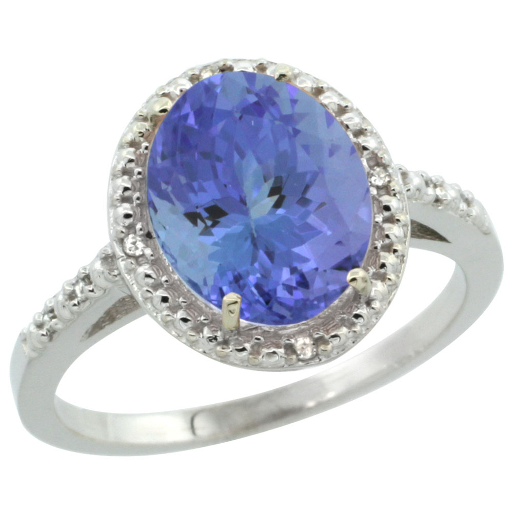 14K White Gold Diamond Natural Tanzanite Engagement Ring Oval 10x8mm, sizes 5-10
