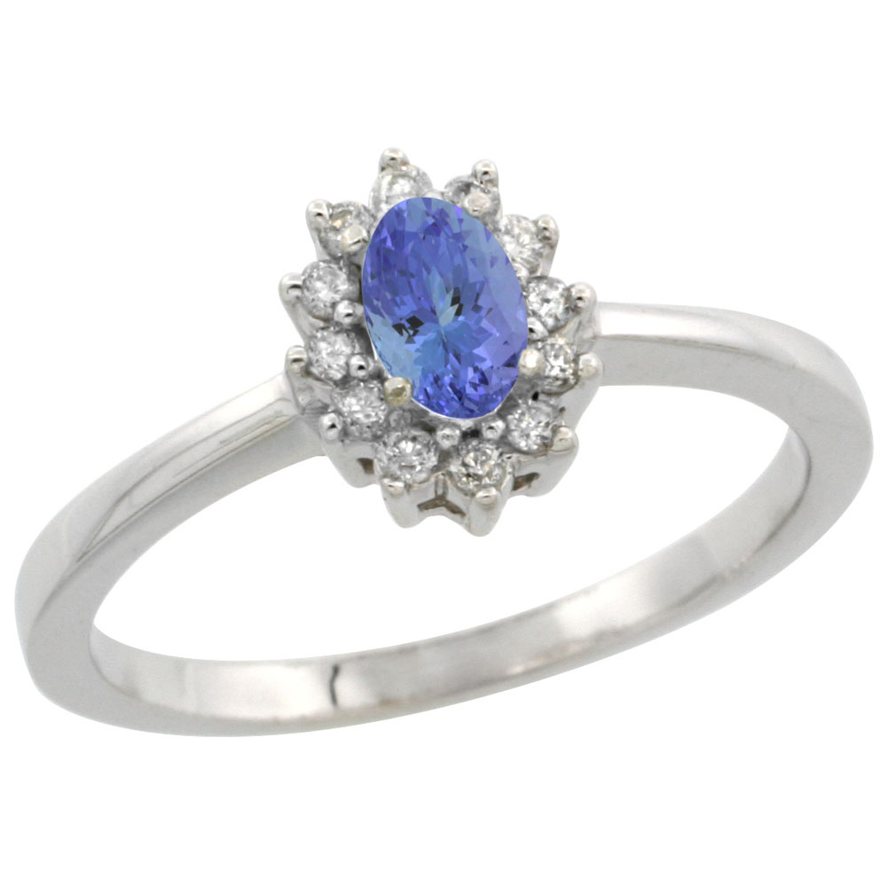 14K White Gold Natural Tanzanite Ring Oval 5x3mm Diamond Halo, sizes 5-10