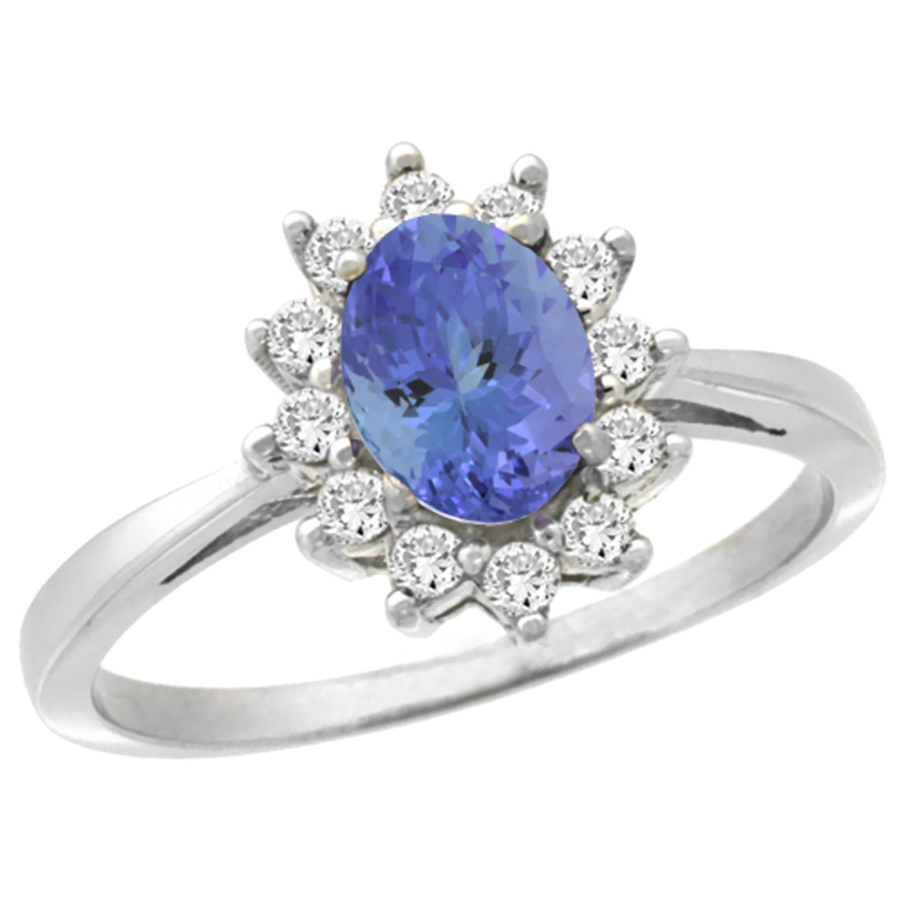 14K White Gold Natural Tanzanite Engagement Ring Oval 7x5mm Diamond Halo, sizes 5-10
