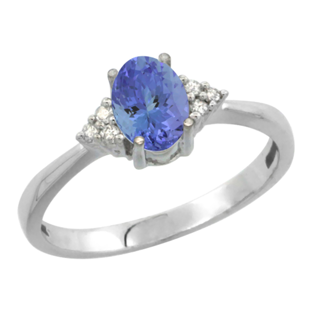 14K White Gold Diamond Natural Tanzanite Engagement Ring Oval 7x5mm, sizes 5-10