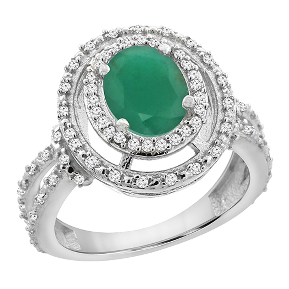 14K White Gold Natural Cabochon Emerald Ring Oval 8x6 mm Double Halo Diamond, sizes 5 - 10