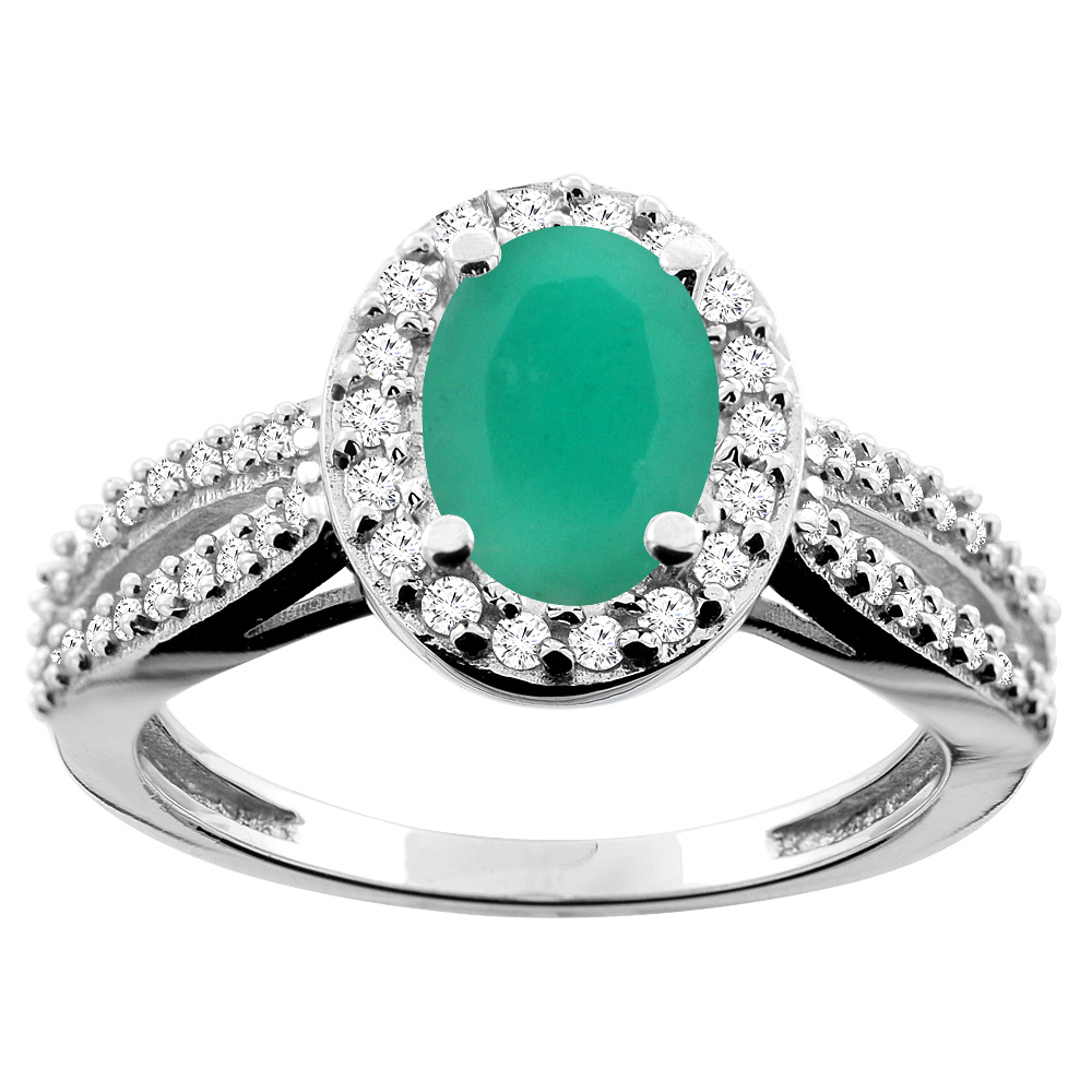 14K White/Yellow/Rose Gold Natural Cabochon Emerald Ring Oval 8x6mm Diamond Accent, sizes 5 - 10