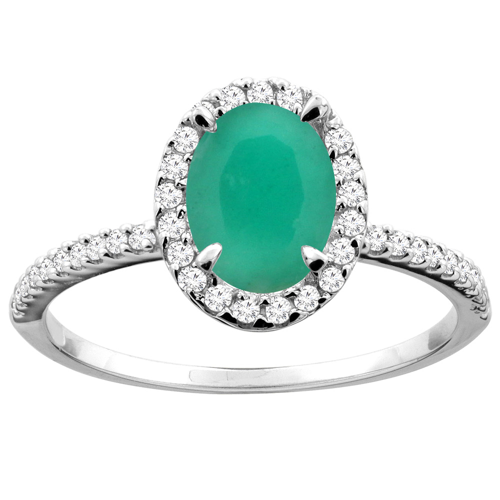 14K White/Yellow Gold Natural Cabochon Emerald Ring Oval 8x6mm Diamond Accent, sizes 5 - 10