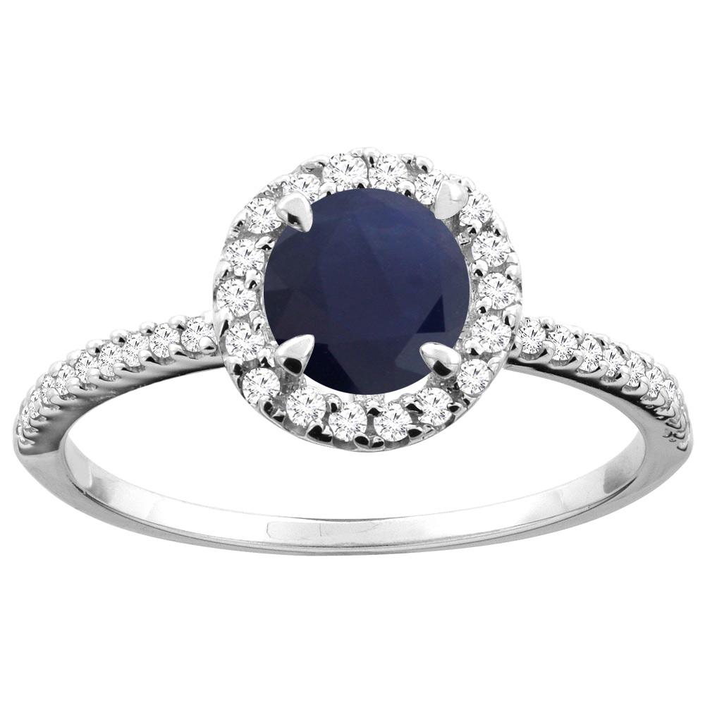 14K Gold Diamond Natural Quality Blue Sapphire Engagement Ring Round 6mm, size 5 - 10
