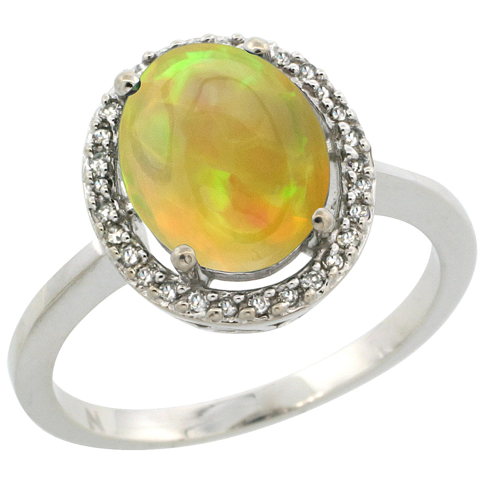 10K White Gold Diamond Halo Natural Ethiopian Opal Engagement Ring Oval 10x8 mm, size 5-10