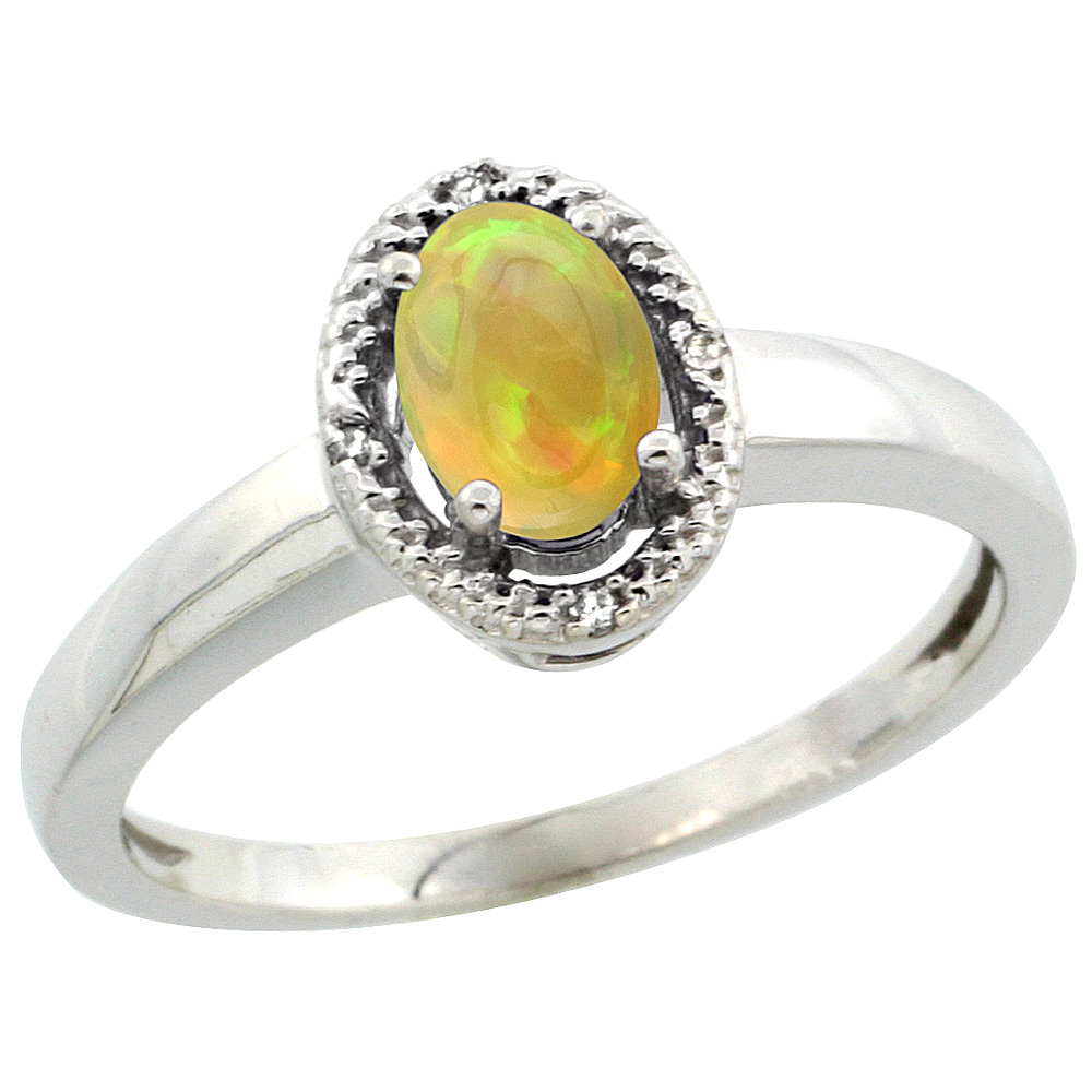 10K White Gold Diamond Halo Natural Ethiopian Opal Engagement Ring Oval 6x4 mm, size 5-10