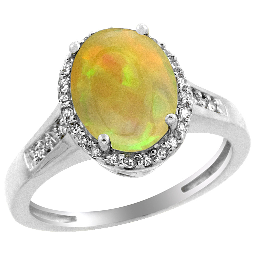 10K White Gold Diamond Natural Ethiopian Opal Engagement Ring Oval 10x8mm, size 5-10