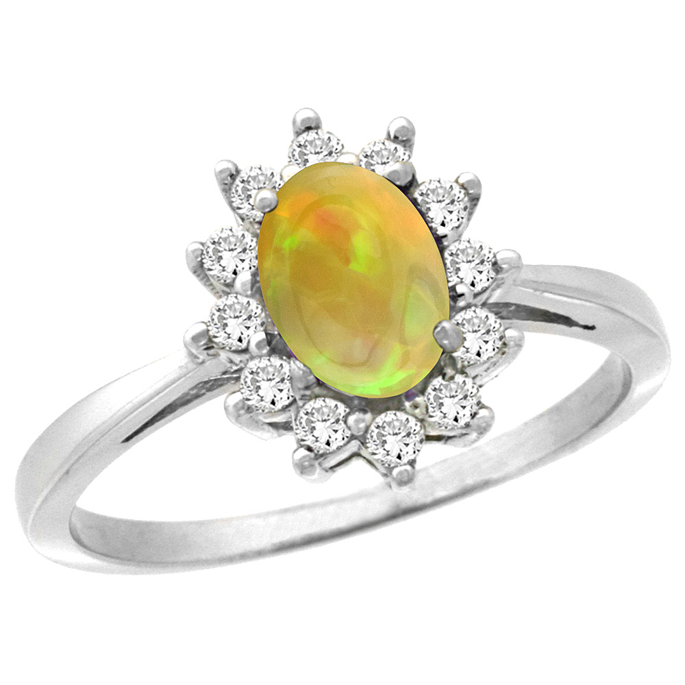 10k White Gold Diamond Halo Natural Ethiopian Opal Engagement Ring Oval 7x5mm, size 5-10