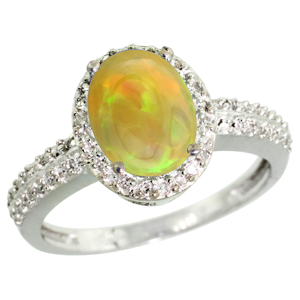 14K White Gold Diamond Natural Ethiopian Opal Engagement Ring Oval 9x7mm, sizes 5-10
