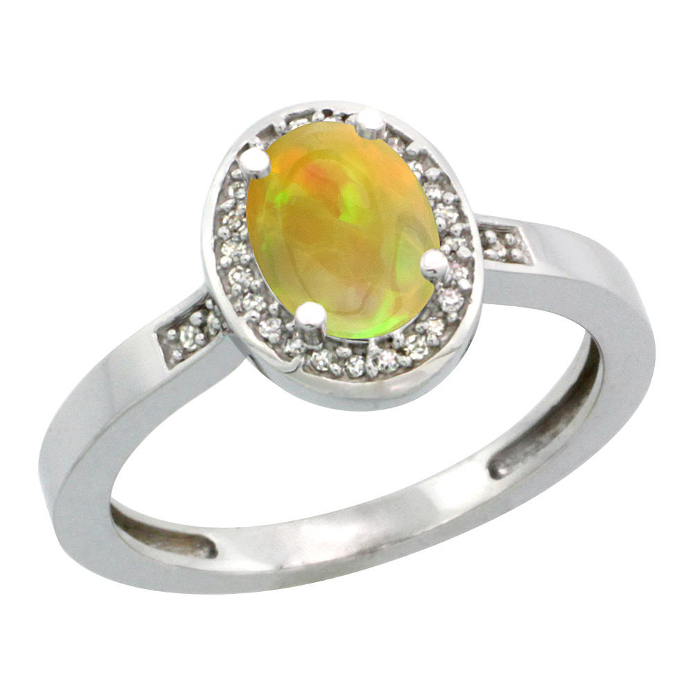 10K White Gold Diamond Natural Ethiopian Opal Engagement Ring Oval 7x5mm, size 5-10