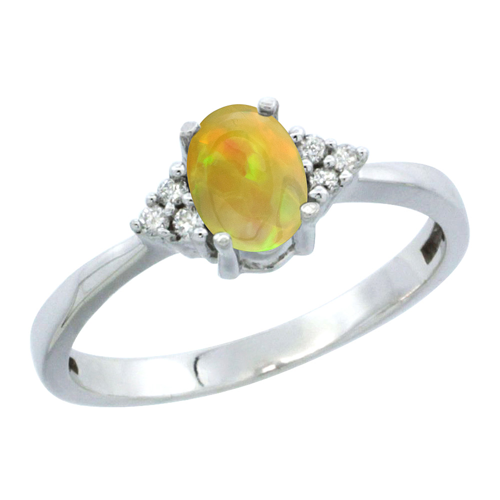 10K White Gold Diamond Natural Ethiopian Opal Engagement Ring Oval 6x4mm, size 5-10