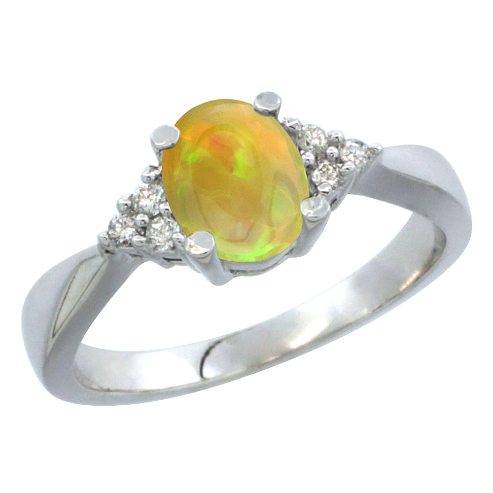 14K White Gold Diamond Natural Ethiopian Opal Engagement Ring Oval 7x5mm, size 5-10