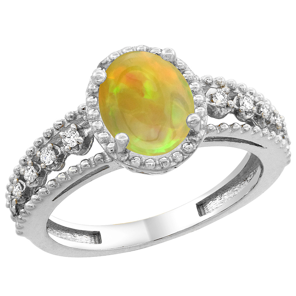 10K White Gold Diamond Natural Ethiopian Opal Engagement Ring Oval 9x7 mm, size 5 - 10