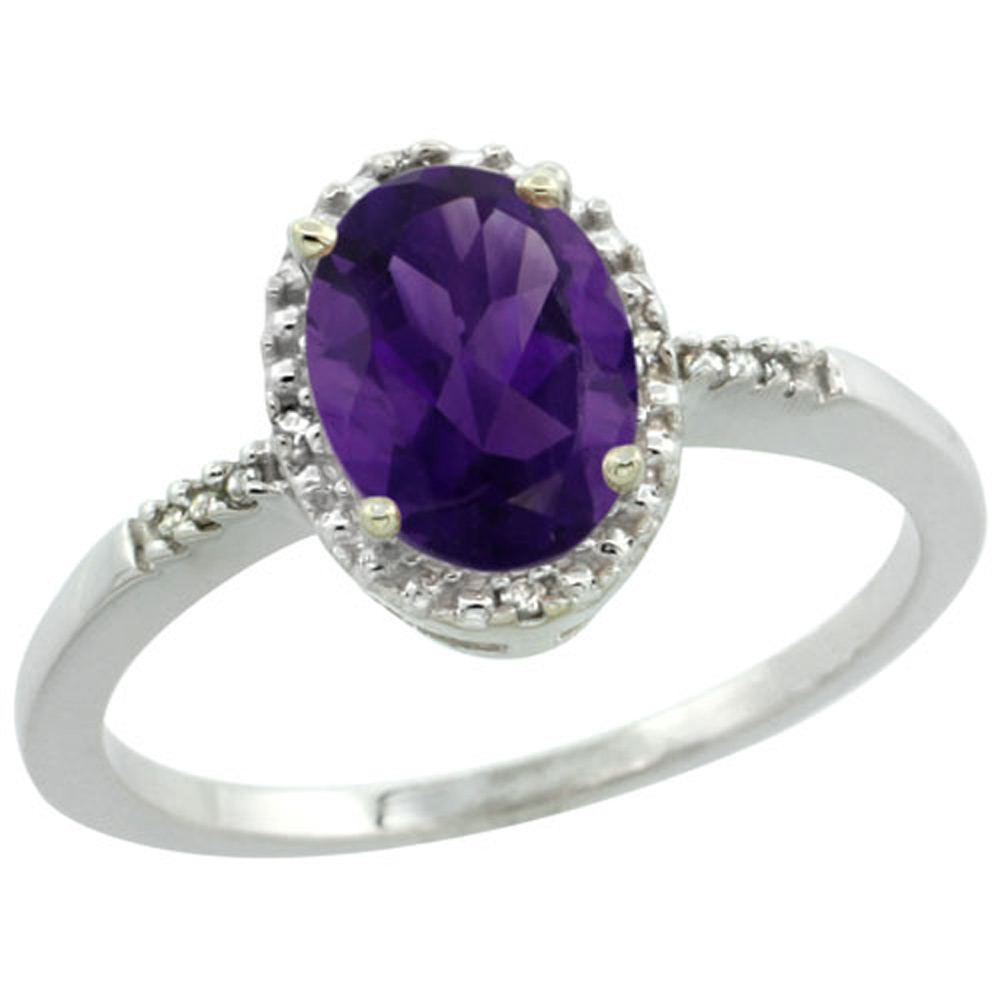 Sterling Silver Diamond Natural Amethyst Ring Oval 8x6mm, 3/8 inch wide, sizes 5-10