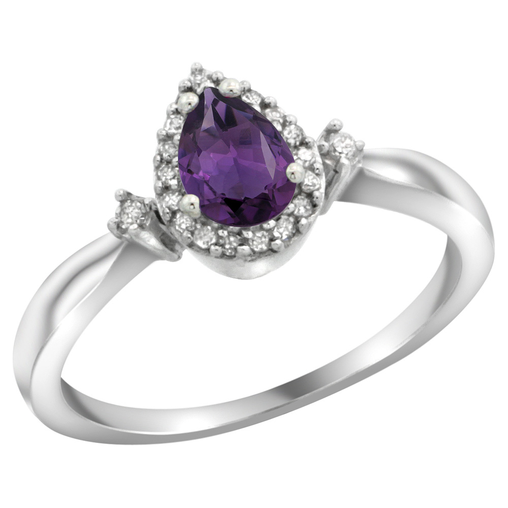 Sterling Silver Diamond Natural Amethyst Ring Pear 6x4mm, 3/8 inch wide, sizes 5-10
