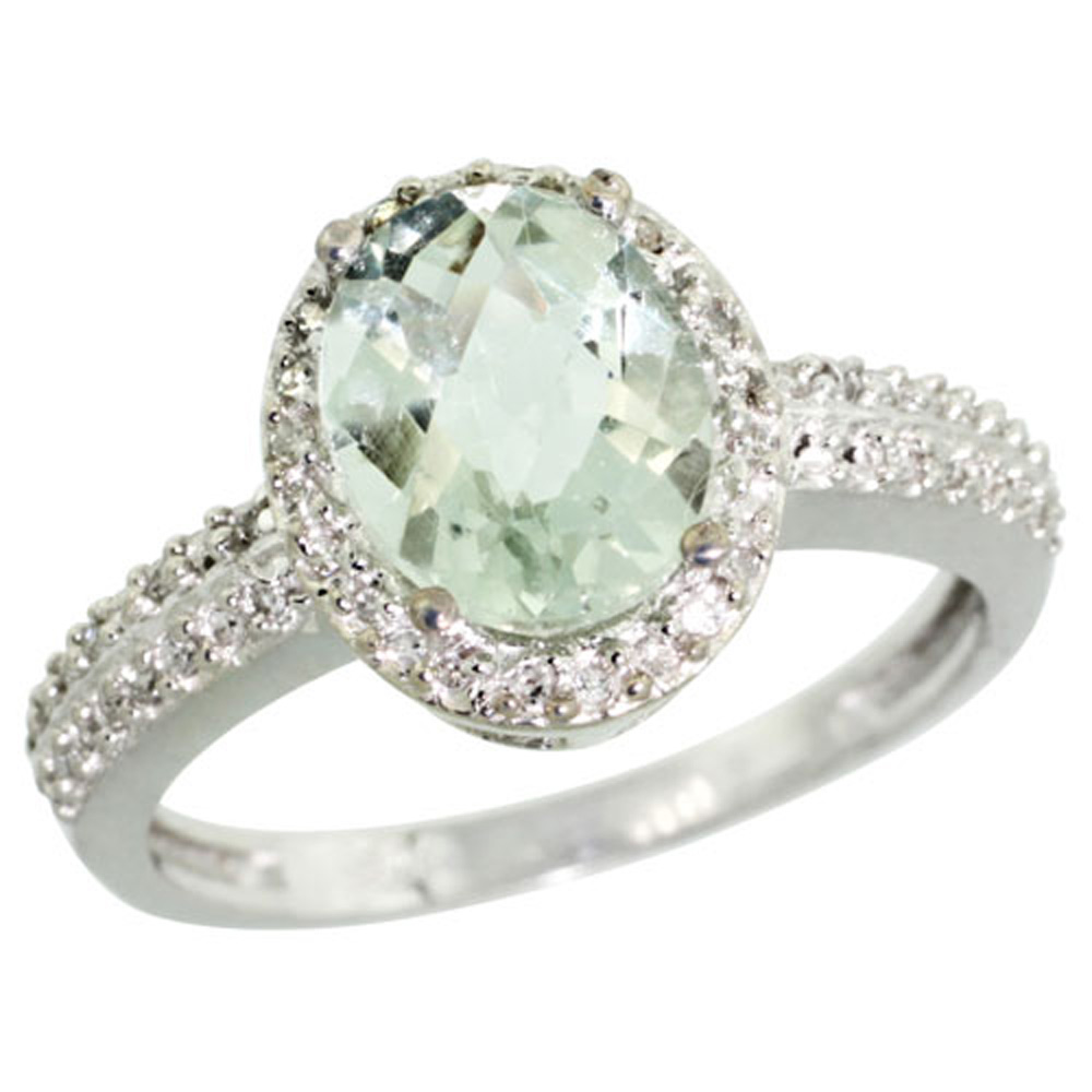 Sterling Silver Diamond Natural Green Amethyst Ring Ring Oval 9x7mm, 1/2 inch wide, sizes 5-10