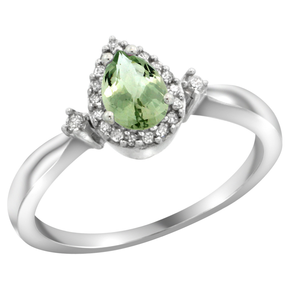 Sterling Silver Diamond Natural Green Amethyst Ring Pear 6x4mm, 3/8 inch wide, sizes 5-10
