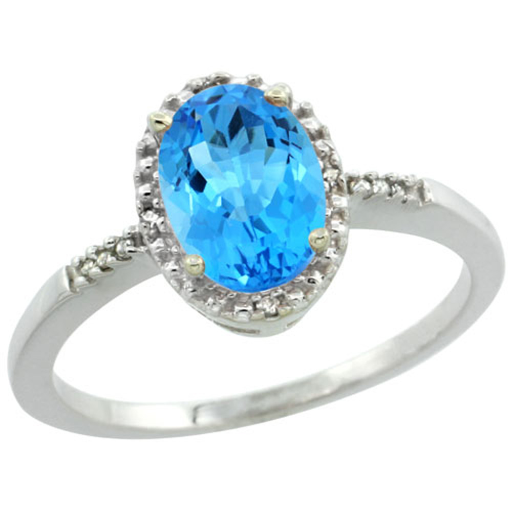 Sterling Silver Diamond Natural Swiss Blue Topaz Ring Oval 8x6mm, 3/8 inch wide, sizes 5-10