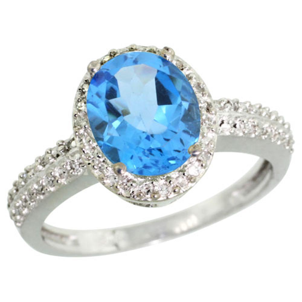 Sterling Silver Diamond Natural Swiss Blue Topaz Ring Oval 9x7mm, 1/2 inch wide, sizes 5-10