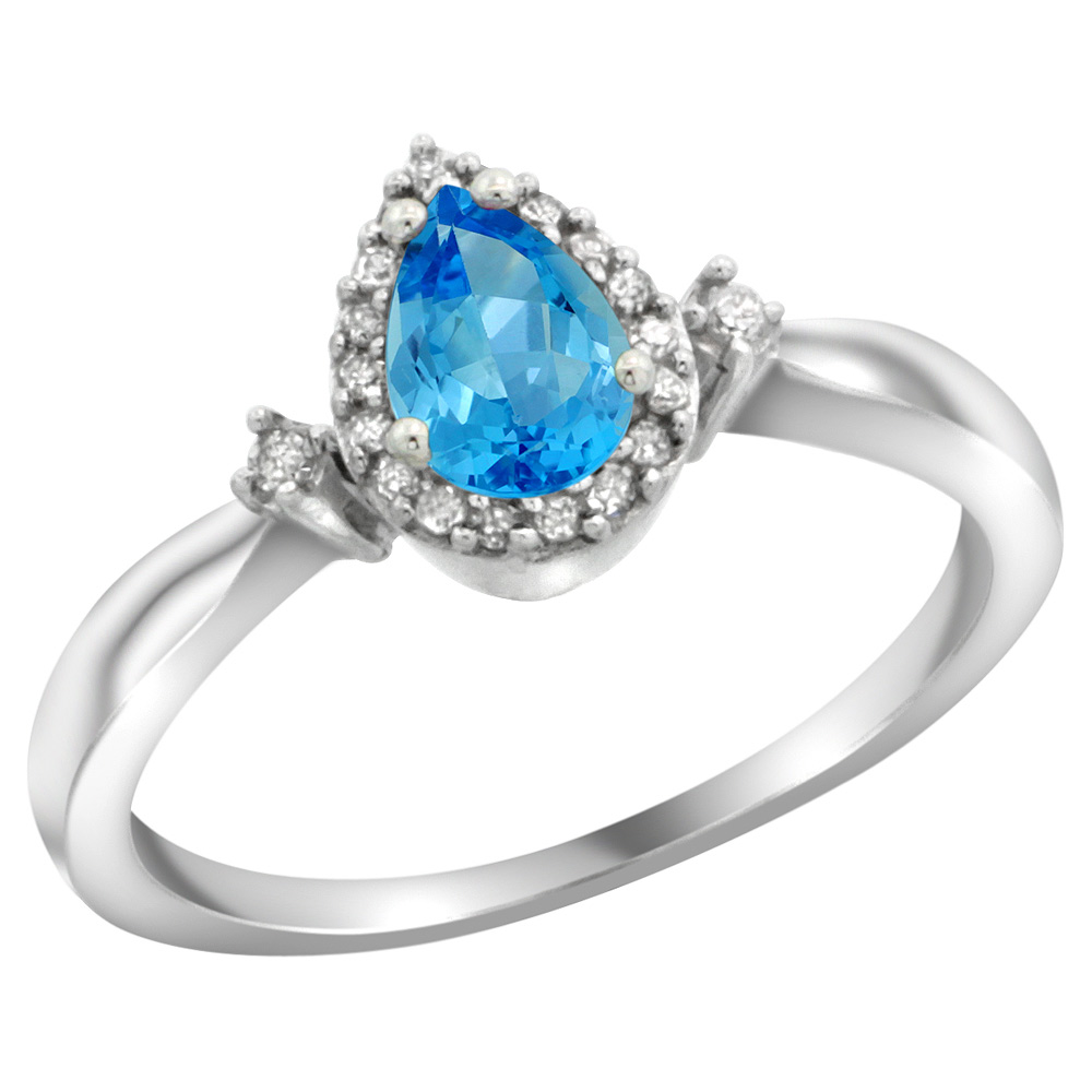 Sterling Silver Diamond Natural Swiss Blue Topaz Ring Pear 6x4mm, 3/8 inch wide, sizes 5-10