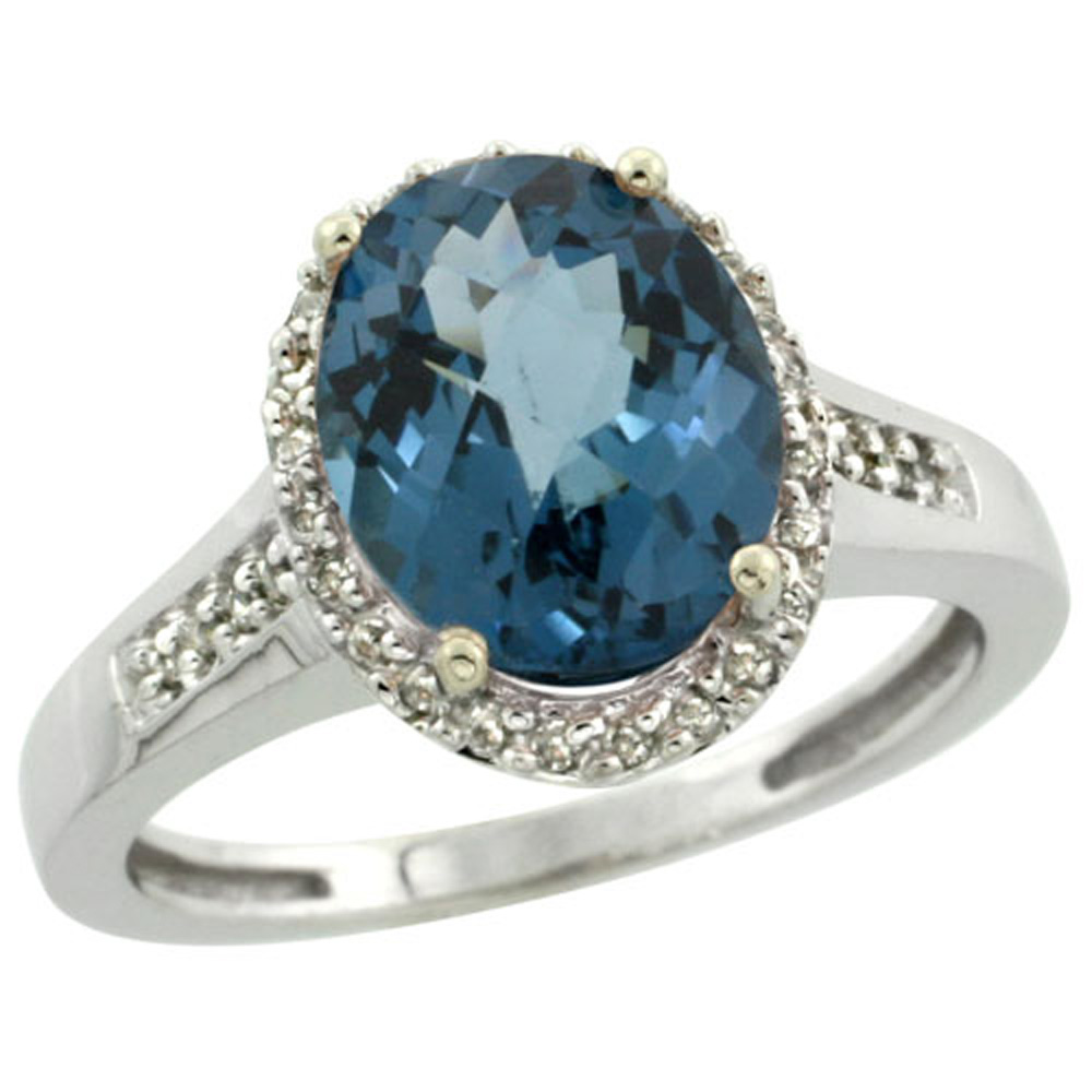 Sterling Silver Diamond Natural London Blue Topaz Ring Oval 10x8mm, 1/2 inch wide, sizes 5-10
