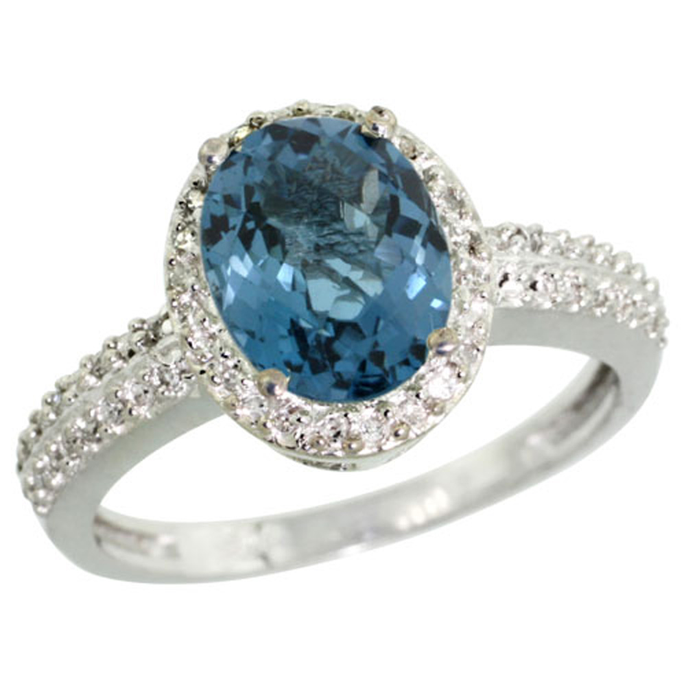 Sterling Silver Diamond Natural London Blue Topaz Ring Oval 9x7mm, 1/2 inch wide, sizes 5-10