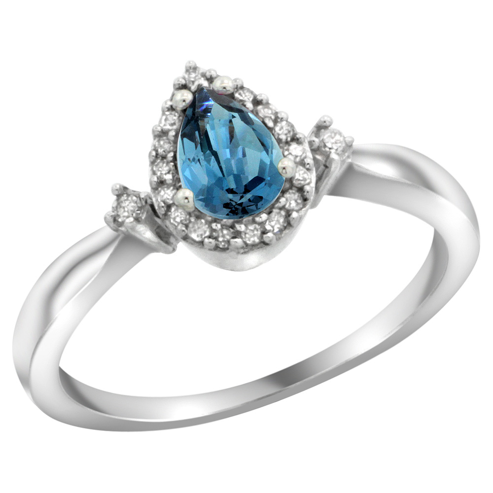 Sterling Silver Diamond Natural London Blue Topaz Ring Pear 6x4mm, 3/8 inch wide, sizes 5-10