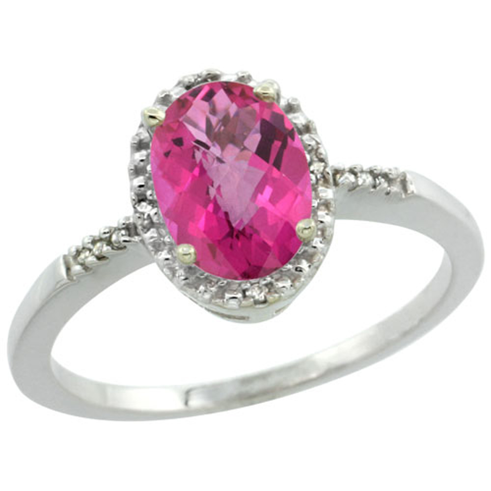 Sterling Silver Diamond Natural Pink Topaz Ring Oval 8x6mm, 3/8 inch wide, sizes 5-10