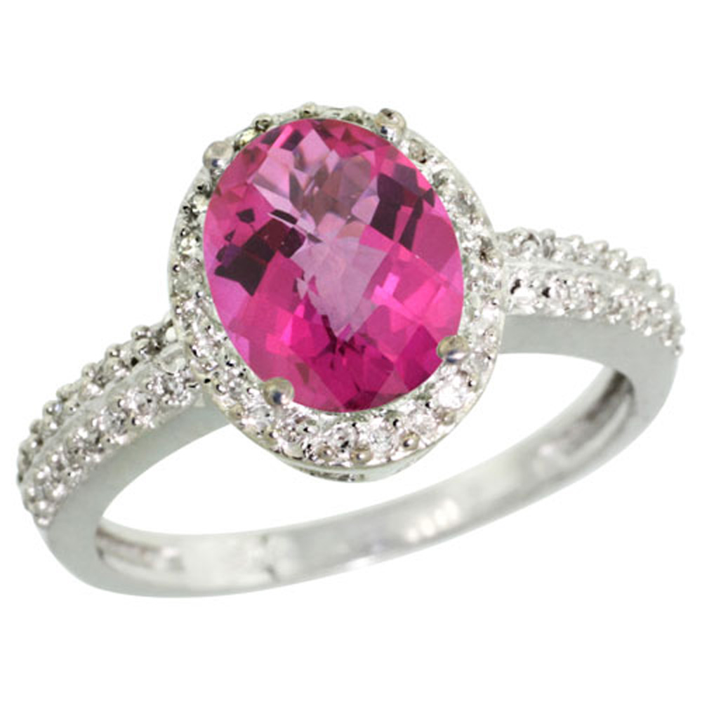 Sterling Silver Diamond Natural Pink Topaz Ring Oval 9x7mm, 1/2 inch wide, sizes 5-10