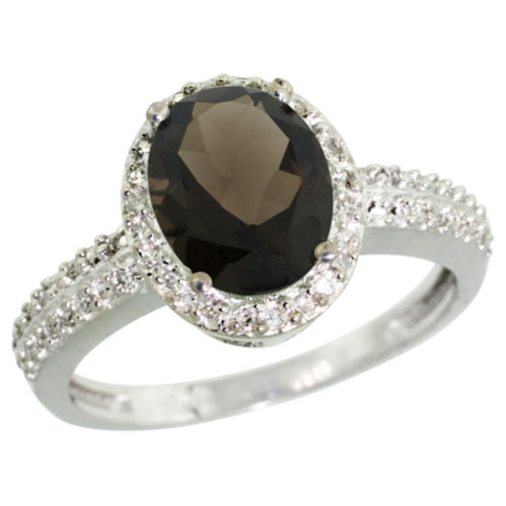 Sterling Silver Diamond Natural Smoky Topaz Ring Oval 9x7mm, 1/2 inch wide, sizes 5-10