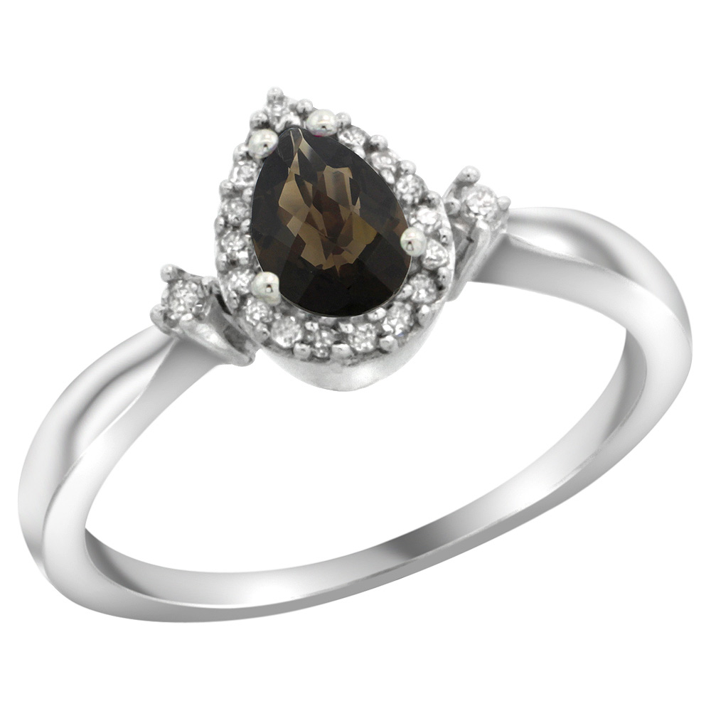 Sterling Silver Diamond Natural Smoky Topaz Ring Pear 6x4mm, 3/8 inch wide, sizes 5-10