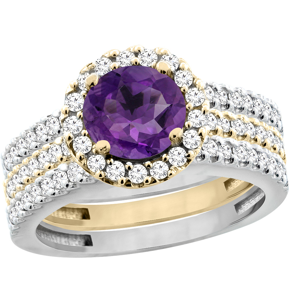 14K Gold Natural Amethyst 3-Piece Ring Set Two-tone Round 6mm Halo Diamond, sizes 5 - 10