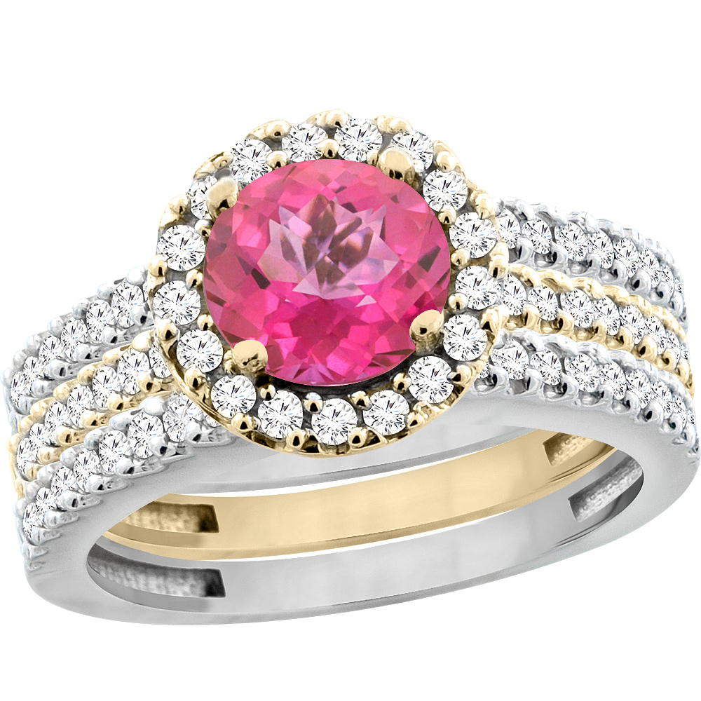 10K Gold Natural Pink Topaz 3-Piece Ring Set Two-tone Round 6mm Halo Diamond, sizes 5 - 10