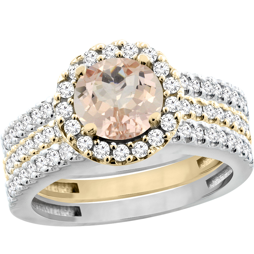 14K Gold Natural Morganite 3-Piece Ring Set Two-tone Round 6mm Halo Diamond, sizes 5 - 10