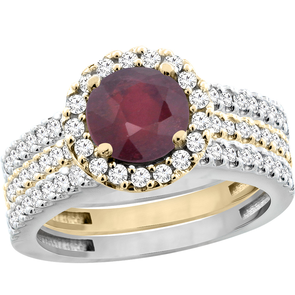 10K Gold Enhanced Ruby 3-Piece Ring Set Two-tone Round 6mm Halo Diamond, sizes 5 - 10