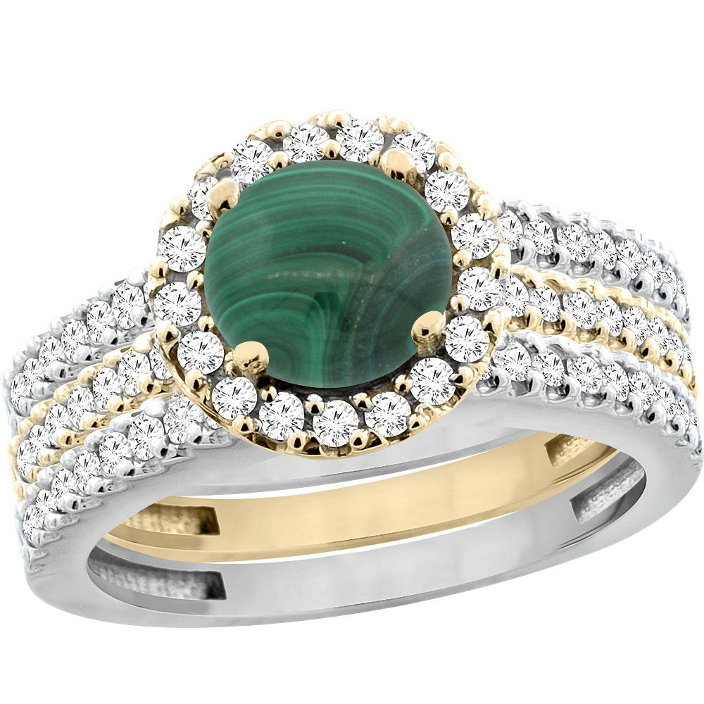 14K Gold Natural Malachite 3-Piece Ring Set Two-tone Round 6mm Halo Diamond, sizes 5 - 10