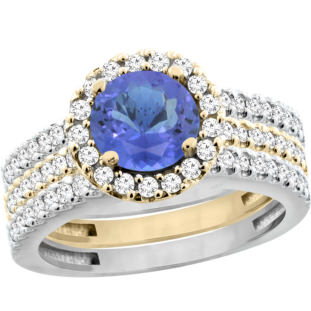 14K Gold Natural Tanzanite 3-Piece Ring Set Two-tone Round 6mm Halo Diamond, sizes 5 - 10