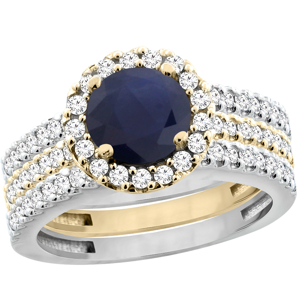 10K Gold Diamond Halo Natural Quality Blue Sapphire 3pc Engagement Ring Set Two-tone Round 6mm, size 5-10