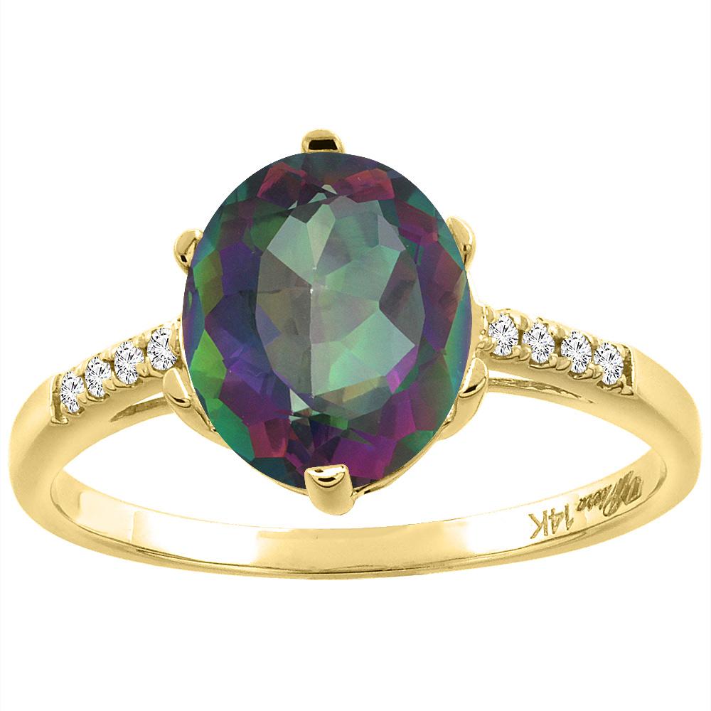 14K Yellow Gold Natural Mystic Topaz & Diamond Ring Oval 10x8 mm, sizes 5-10