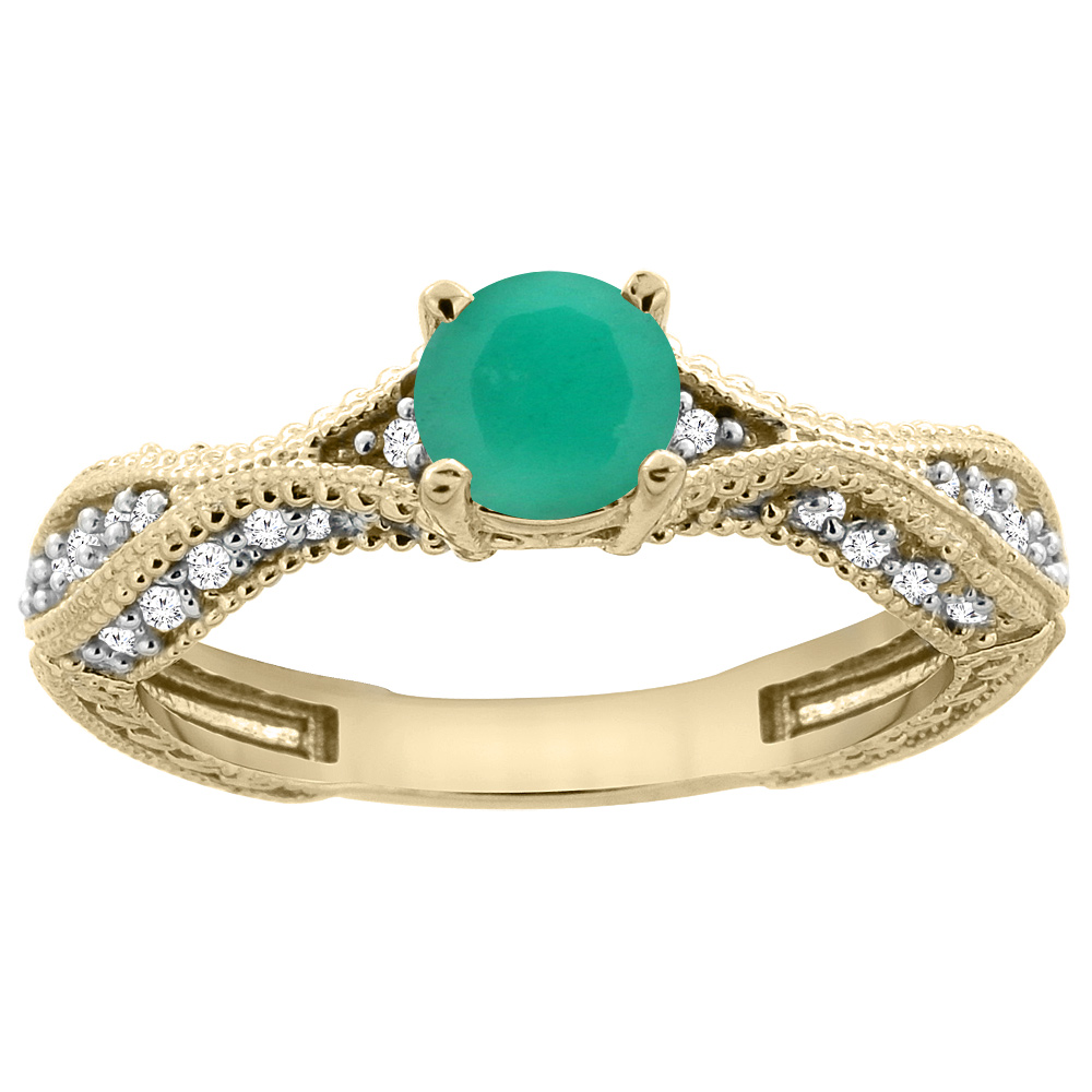 14K Yellow Gold Natural Emerald Round 5mm Engraved Engagement Ring Diamond Accents, sizes 5 - 10