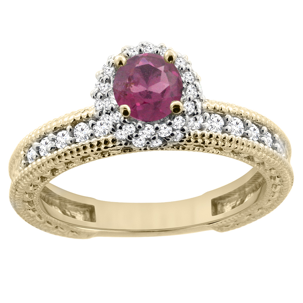 14K Yellow Gold Natural Rhodolite Round 5mm Engagement Ring Diamond Accents, sizes 5 - 10