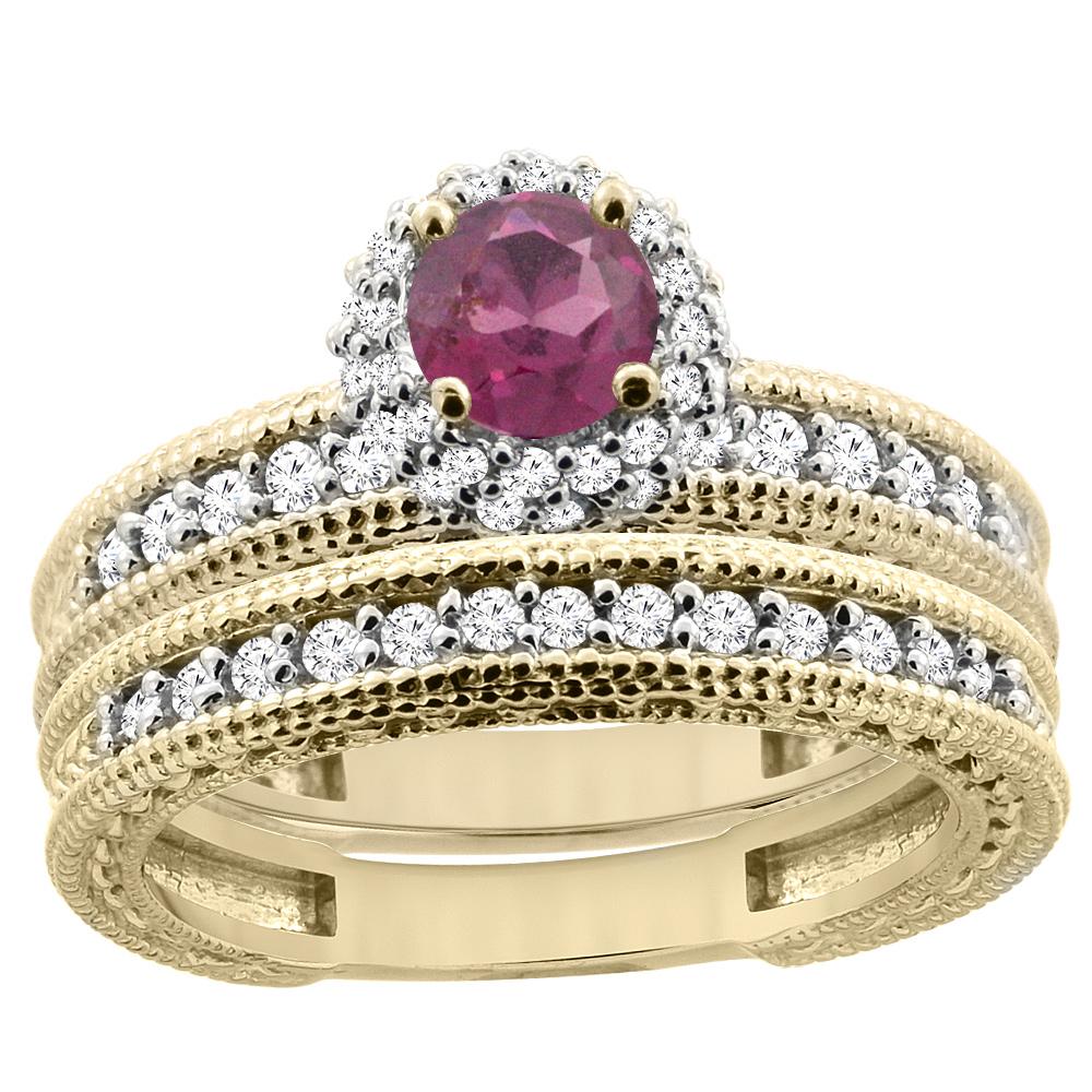 14K Yellow Gold Diamond Natural Rhodolite Round 4mm Engagement Ring 2-piece Set, sizes 5 - 10